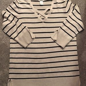 Sweaters - Cream and black tunic sweater